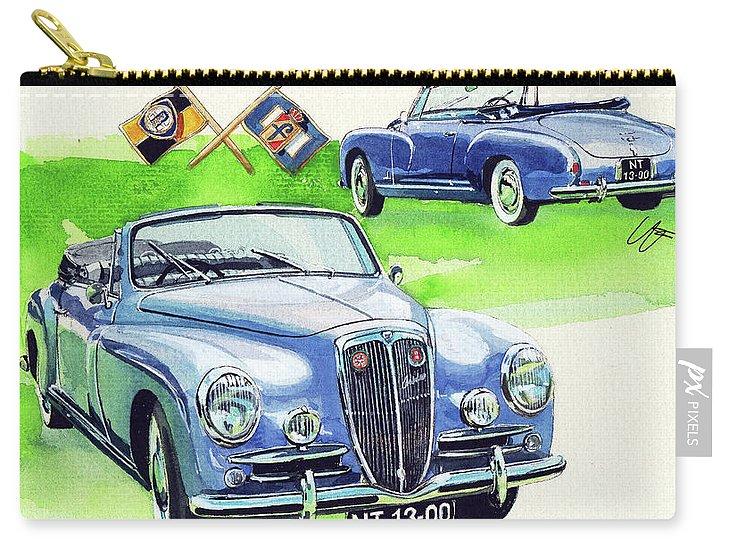 Lancia Aurelia B50 (1956) Carry-all Pouch featuring the painting Lancia Aurelia B50 by Yoshiharu Miyakawa