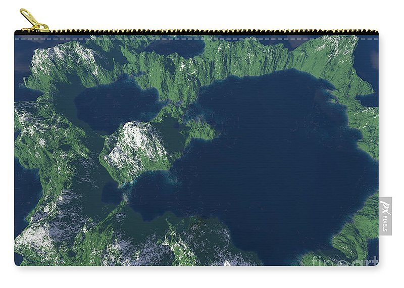 Craters Carry-all Pouch featuring the digital art Land Of A Thousand Lakes by Gaspar Avila