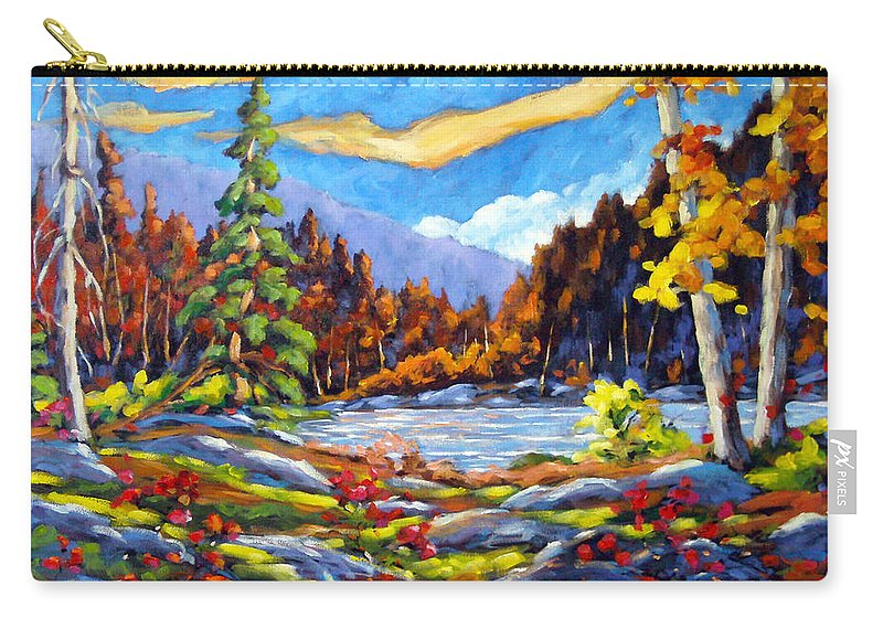 Art For Sale Carry-all Pouch featuring the painting Land Of Lakes by Richard T Pranke