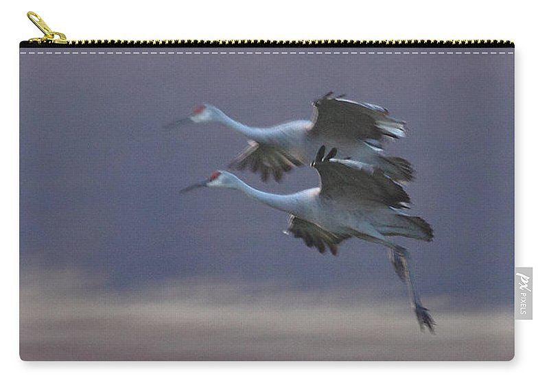 Sandhill Cranes Birds Photography Photograph Wildlife Flying Flight Carry-all Pouch featuring the photograph Landing Gear Down by Shari Jardina