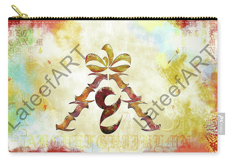 Calligraphy Carry-all Pouch featuring the digital art Landing by Lateef Hassayn