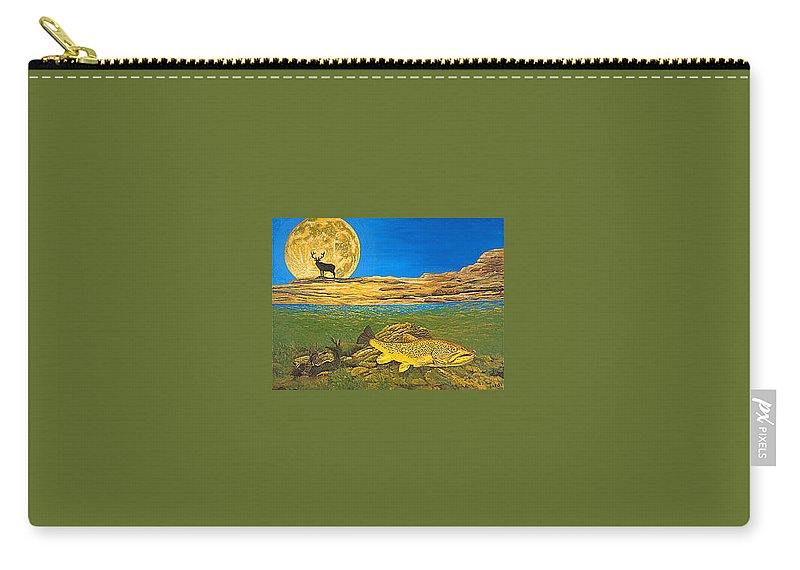 Artwork Carry-all Pouch featuring the painting Landscape Art Fish Art Brown Trout TIMING Bull Elk Full Moon Nature Contemporary Modern Decor by Patti Baslee