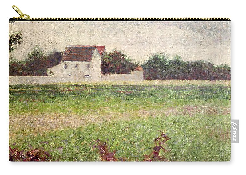 Seurat Carry-all Pouch featuring the painting Landscape In The Ile De France by Georges Pierre Seurat