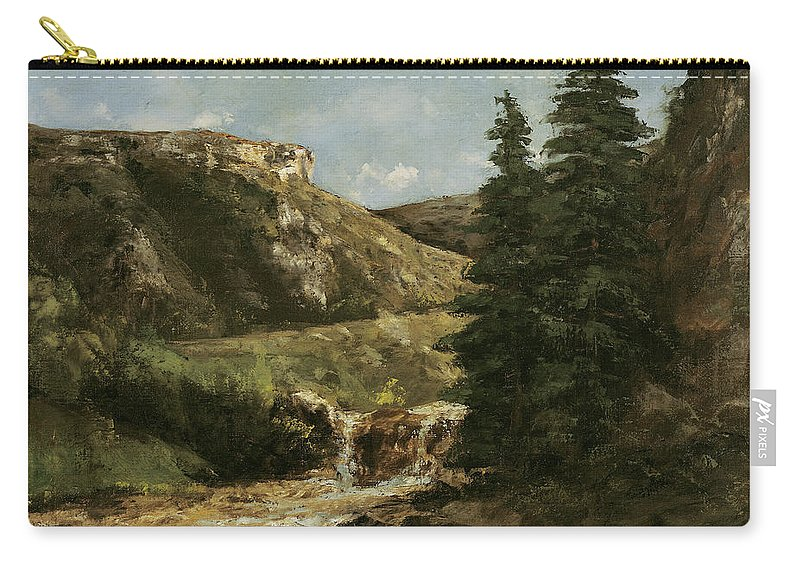 Landscape Carry-all Pouch featuring the painting Landscape Near Ornans by Gustave Courbet