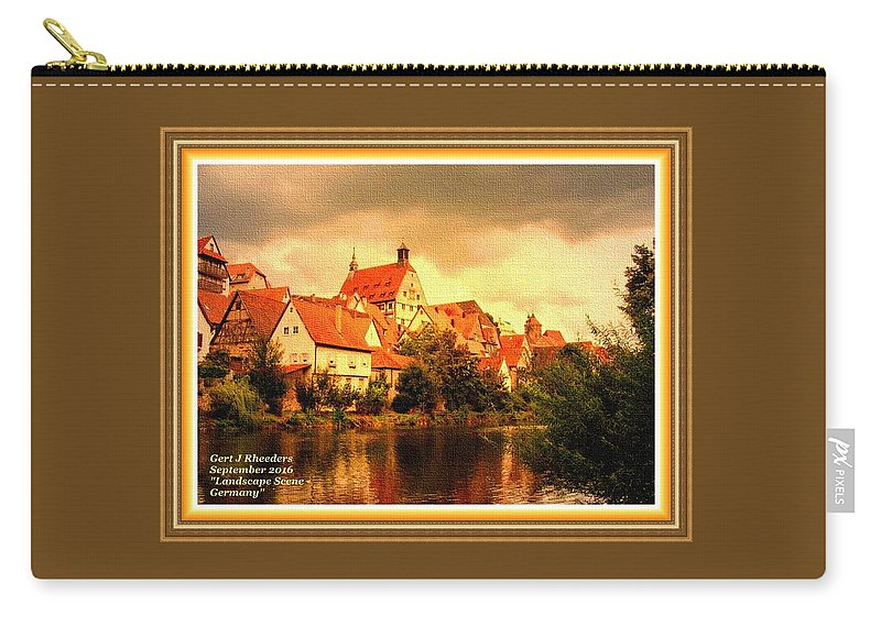 Landscape Carry-all Pouch featuring the painting Landscape Scene - Germany. L A With Alt. Decorative Ornate Printed Frame. by Gert J Rheeders