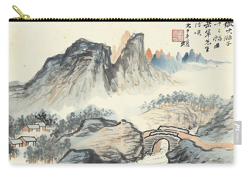 Landscape Village Carry-all Pouch featuring the painting Landscape Village by Zhang Daqian
