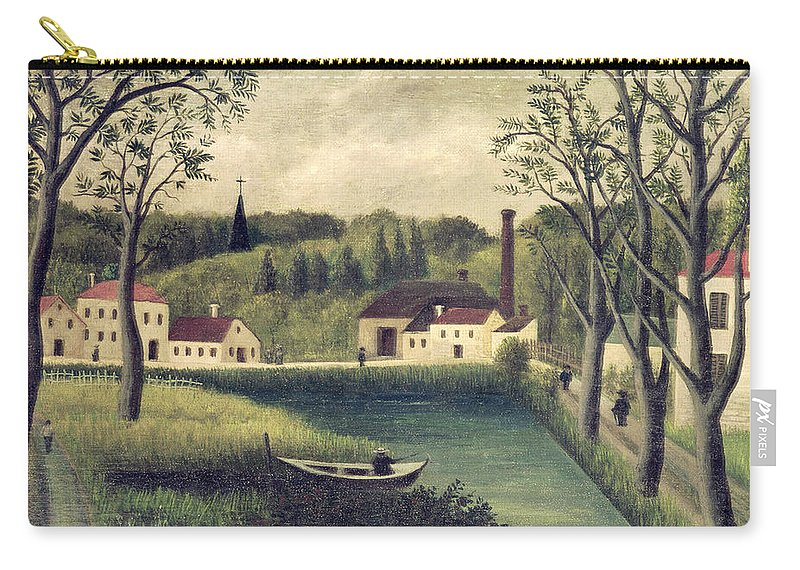 Landscape Carry-all Pouch featuring the painting Landscape With A Fisherman by Henri Rousseau