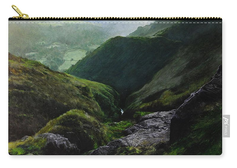 Landscape Carry-all Pouch featuring the painting View Towards The Coast by Harry Robertson