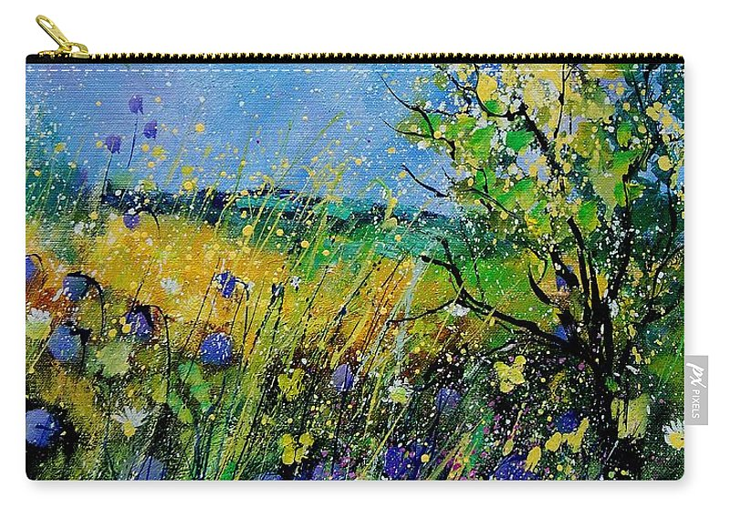 Flowers Carry-all Pouch featuring the painting Landscape With Cornflowers 459060 by Pol Ledent