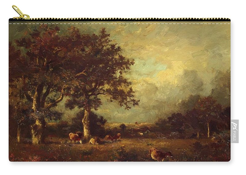 Landscape Carry-all Pouch featuring the painting Landscape With Cows 1870 by Dupre Jules