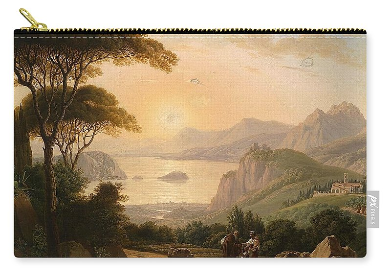 Antoni Lange (1779-1844) Attributed Southern Landscape With Decorative Figures In The Foreground Carry-all Pouch featuring the painting Landscape With Decorative by Antoni Lange