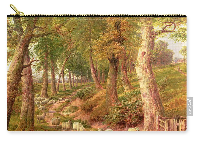 Landscapes Carry-all Pouch featuring the painting Landscape With Sheep by Charles Joseph