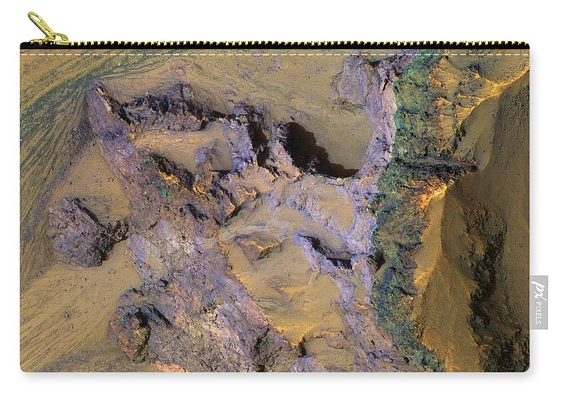 Colorful Bedrock Exposed In A Landslide Scarp In Valles Marineris In Mars Carry-all Pouch featuring the painting Landslide by MotionAge Designs