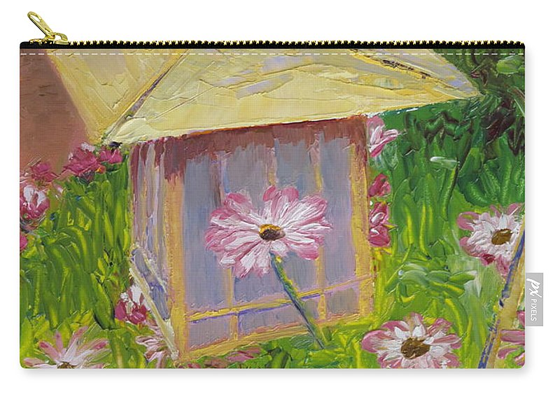 Flower Carry-all Pouch featuring the painting Lantern and Friends by Lea Novak