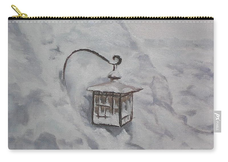 Snow Carry-all Pouch featuring the painting Lantern in the Snow by Lea Novak