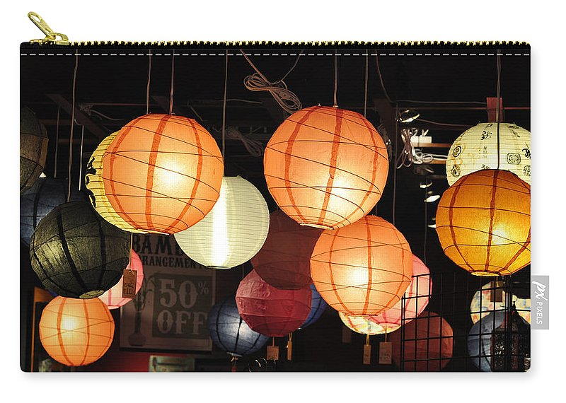 Lanterns Carry-all Pouch featuring the photograph Lanterns 50 Percent Off by Jan Amiss Photography