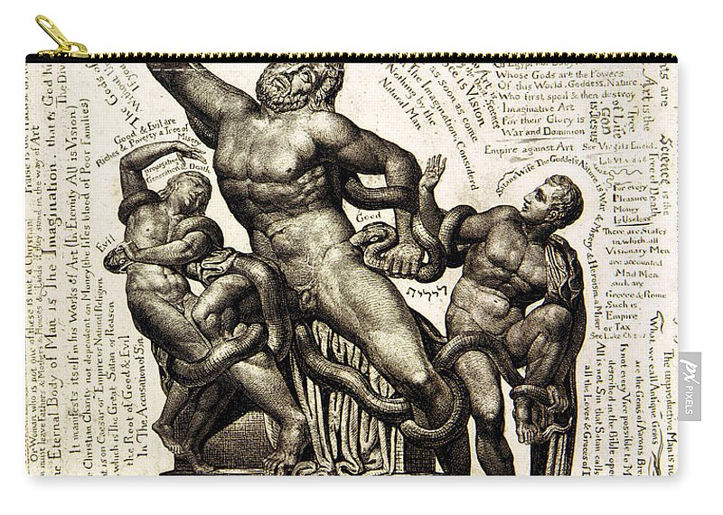 William Blake Carry-all Pouch featuring the drawing Laocoon by William Blake