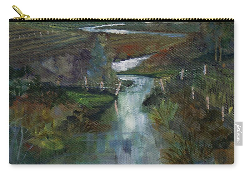 River Carry-all Pouch featuring the painting Laramie River Valley by Heather Coen