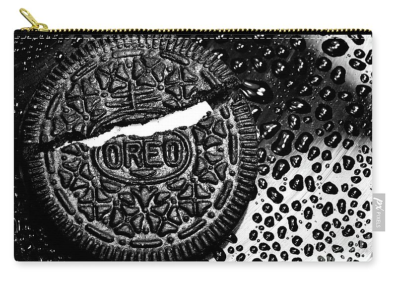 Cookie Carry-all Pouch featuring the photograph Large Oreo Black And White by Nancy Mueller