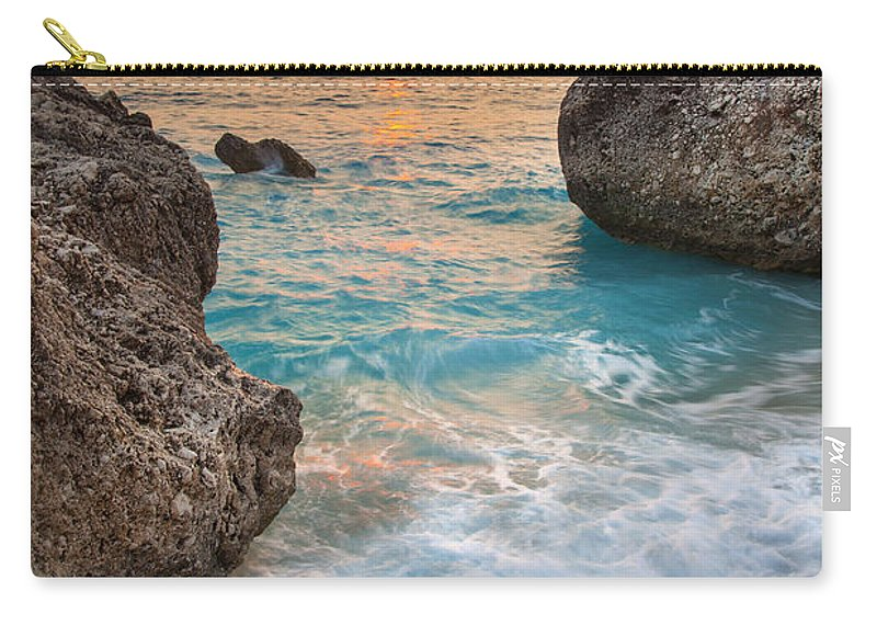 Beach Carry-all Pouch featuring the photograph Large Rocks And Wave With Sunset On Paradise Island Greece by Sandra Rugina