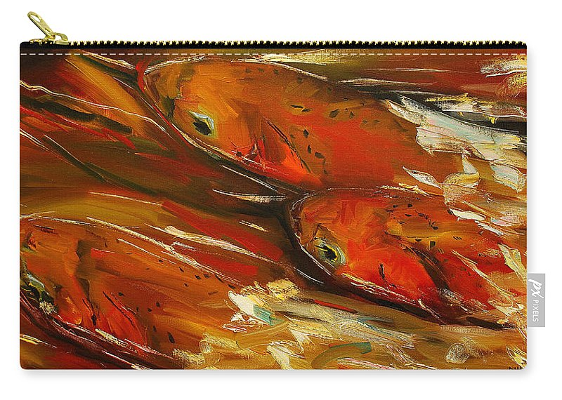 Trout Carry-all Pouch featuring the painting Large Trout Stream Fly Fish by Diane Whitehead