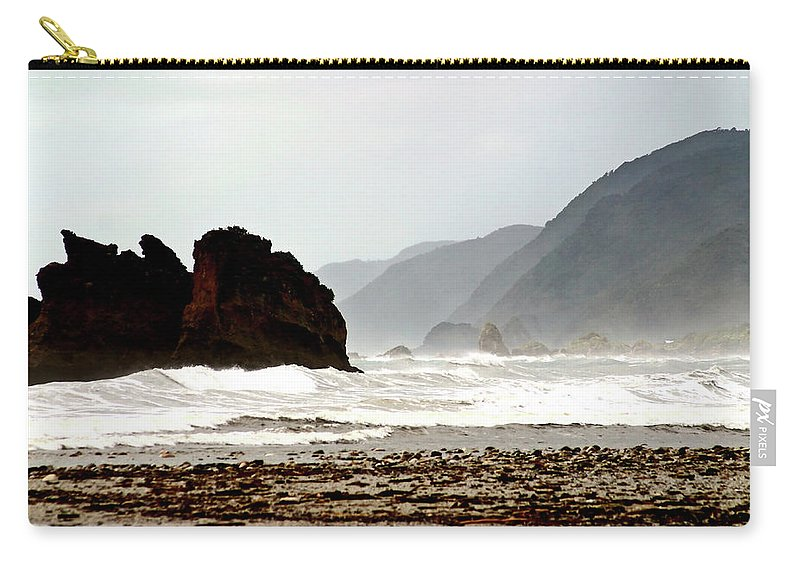 Coastline Carry-all Pouch featuring the digital art Large Waves Along The New Zealand Coast by Mark Duffy