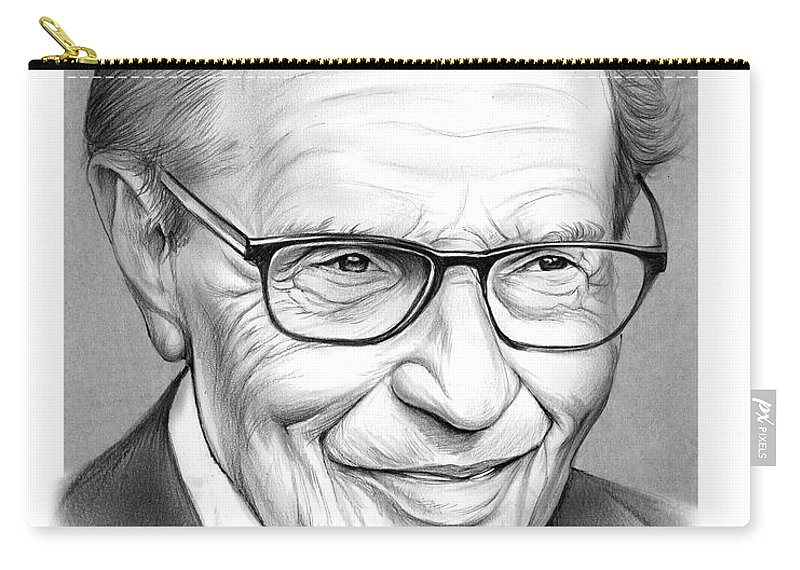 Larry King Carry-all Pouch featuring the drawing Larry King by Greg Joens