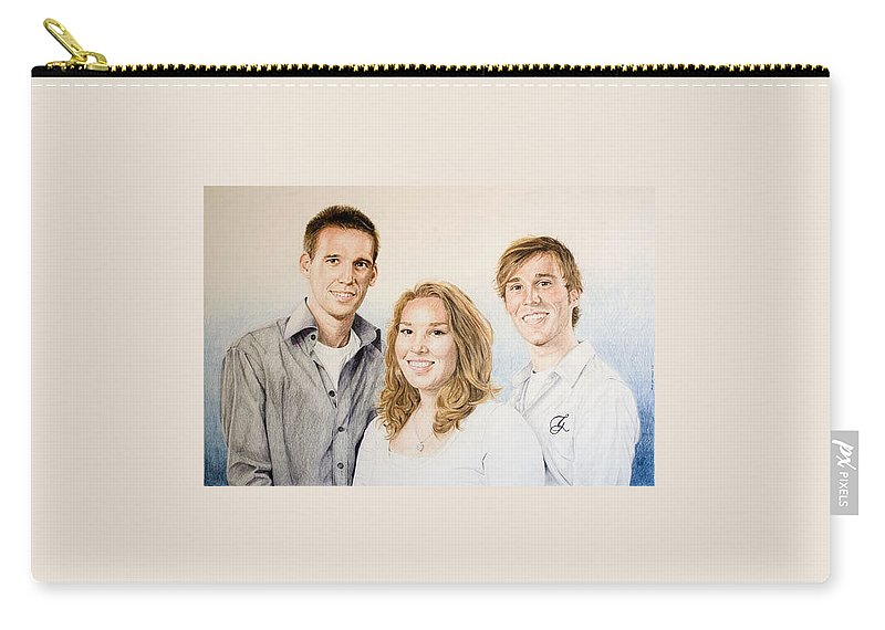 Portrait Carry-all Pouch featuring the drawing Lars Niels And Ilse by Rob De Vries