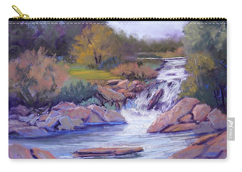 Pastel Carry-all Pouch featuring the painting Larsen Falls by Heather Coen