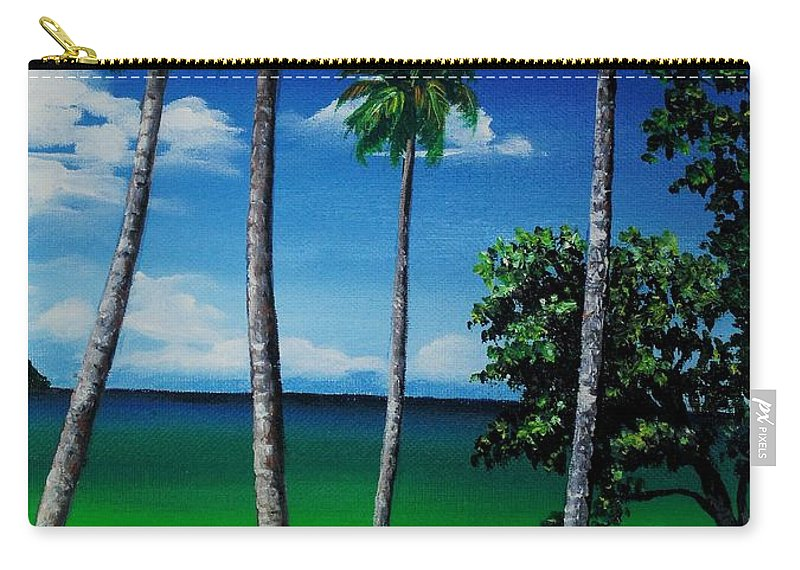 Trinidad Seascape Carry-all Pouch featuring the painting Las Cuevas Bay by Karin Dawn Kelshall- Best