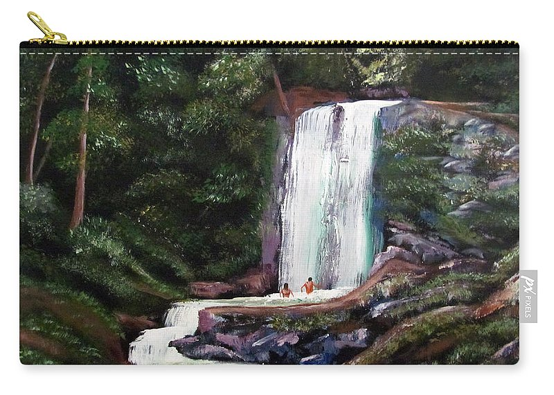 Puerto Rico Carry-all Pouch featuring the painting Las Marias Puerto Rico Waterfall by Luis F Rodriguez