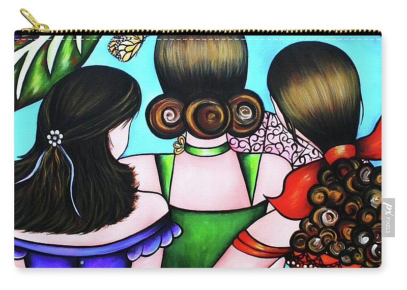 Woman Carry-all Pouch featuring the painting Las Tres Rosas by Annie Maxwell