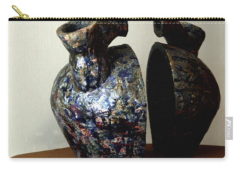 Ceramic Carry-all Pouch featuring the sculpture Las Venas Abiertas De America Latina by Madalena Lobao-Tello