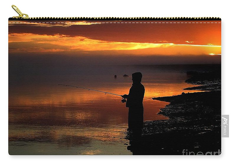 Sunset Carry-all Pouch featuring the photograph Last Cast by Rick Monyahan