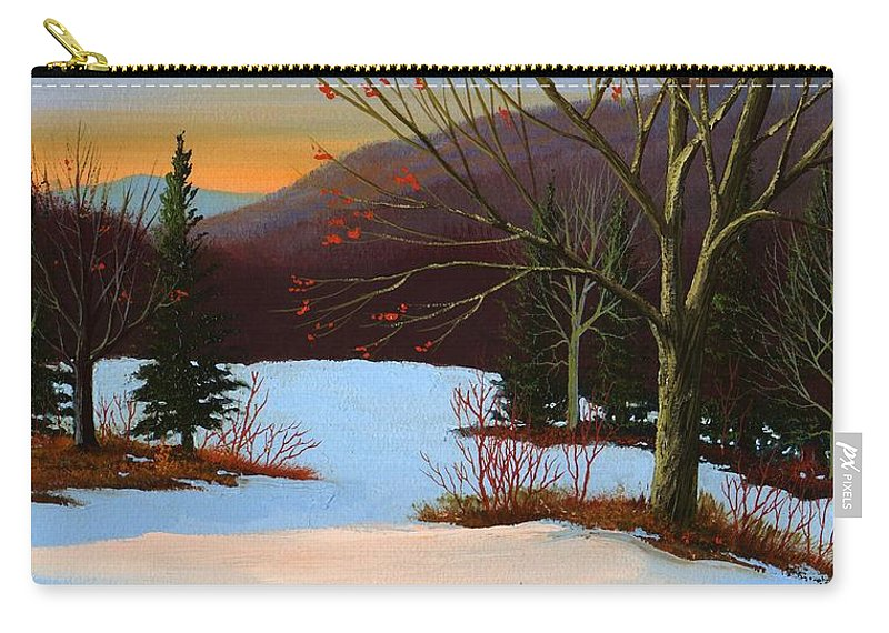 Winter Carry-all Pouch featuring the painting Last Light Of Day by Frank Wilson