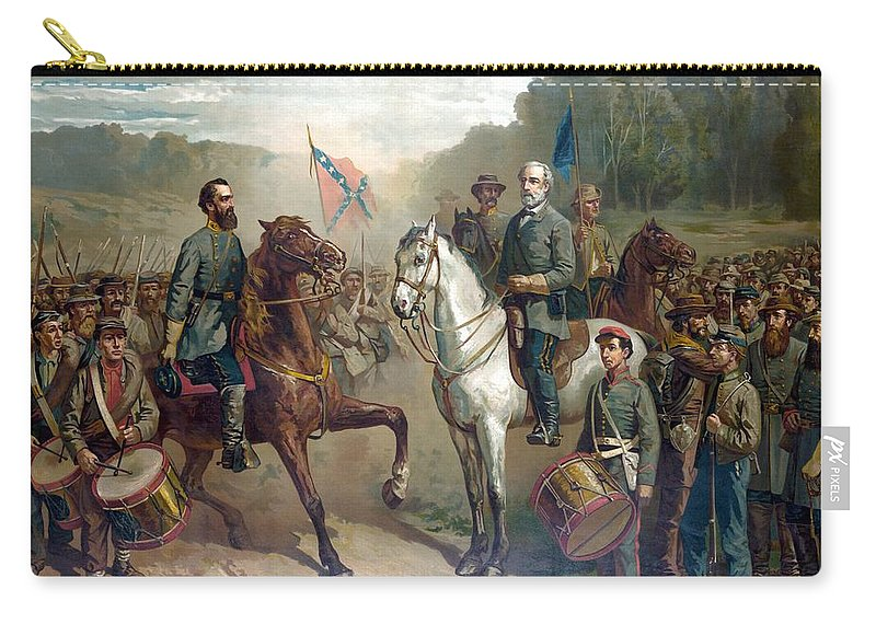Robert E Lee Carry-all Pouch featuring the painting Last Meeting Of Lee And Jackson by War Is Hell Store
