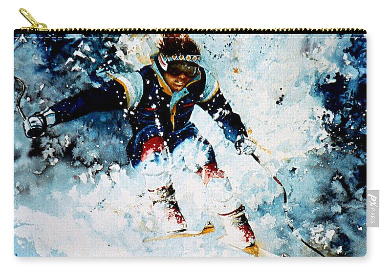 Sports Art Carry-all Pouch featuring the painting Last Run by Hanne Lore Koehler