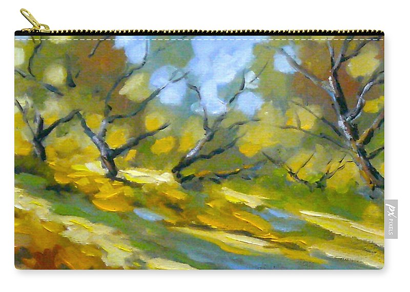 Original Painting; Oil; Landscape; Birches; Trees; Nature; Richard T Pranke; Lake Carry-all Pouch featuring the painting Late Afternoon by Richard T Pranke
