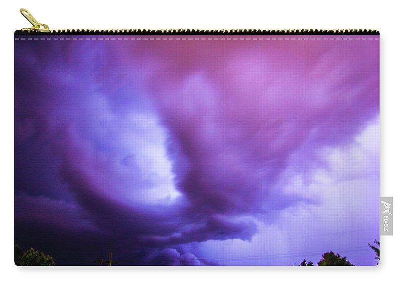 Nebraskasc Carry-all Pouch featuring the photograph Late Night Nebraska Shelf Cloud 001 by NebraskaSC