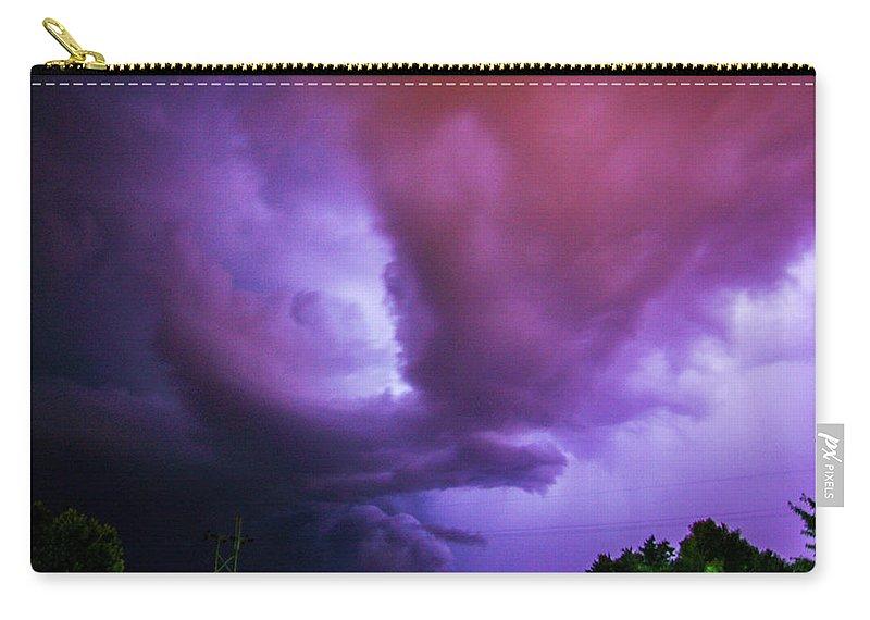 Nebraskasc Carry-all Pouch featuring the photograph Late Night Nebraska Shelf Cloud 002 by NebraskaSC