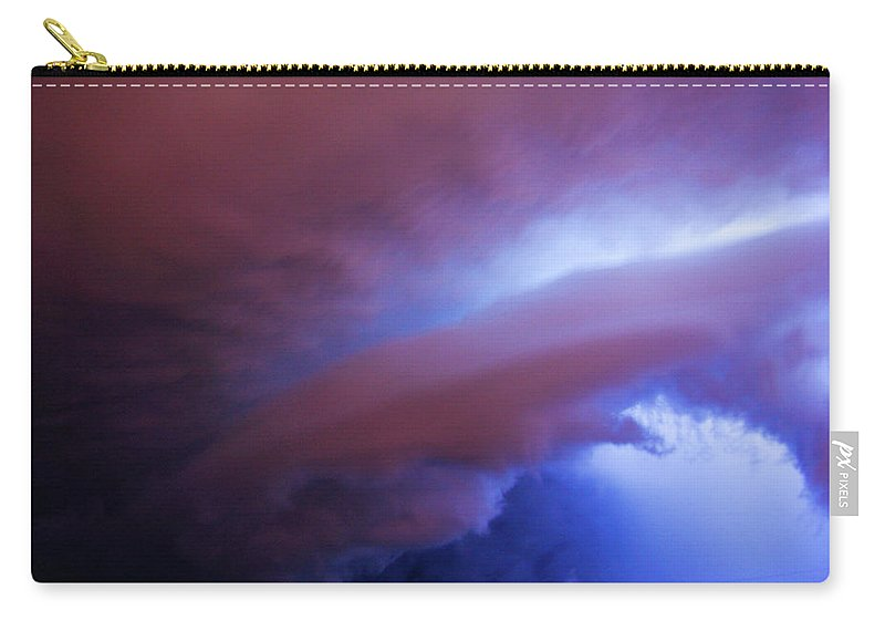 Nebraskasc Carry-all Pouch featuring the photograph Late Night Nebraska Shelf Cloud 004 by NebraskaSC