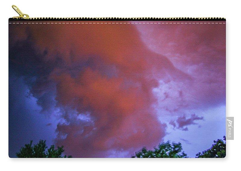 Nebraskasc Carry-all Pouch featuring the photograph Late Night Nebraska Shelf Cloud 011 by NebraskaSC