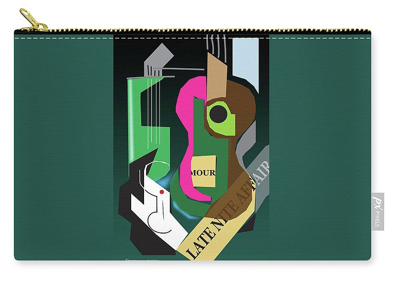 Digital Abstract Carry-all Pouch featuring the digital art Late Nite Affair by Michael Chatman