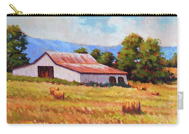 Impressionism Carry-all Pouch featuring the painting Late Summer Hay by Keith Burgess