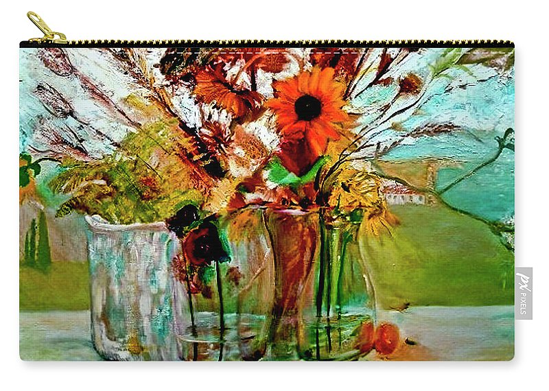 Flowers Jar Glass Thistle Picnic Green Lemon Rose Carry-all Pouch featuring the painting Late Summer by Jack Diamond