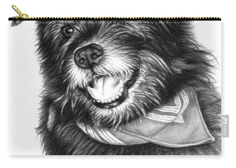 Dog Portrait Drawing Charcoal Carry-all Pouch featuring the drawing Laughing Gauner by Nicole Zeug