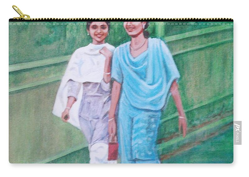 Carry-all Pouch featuring the painting Laughing Girls by Usha Shantharam