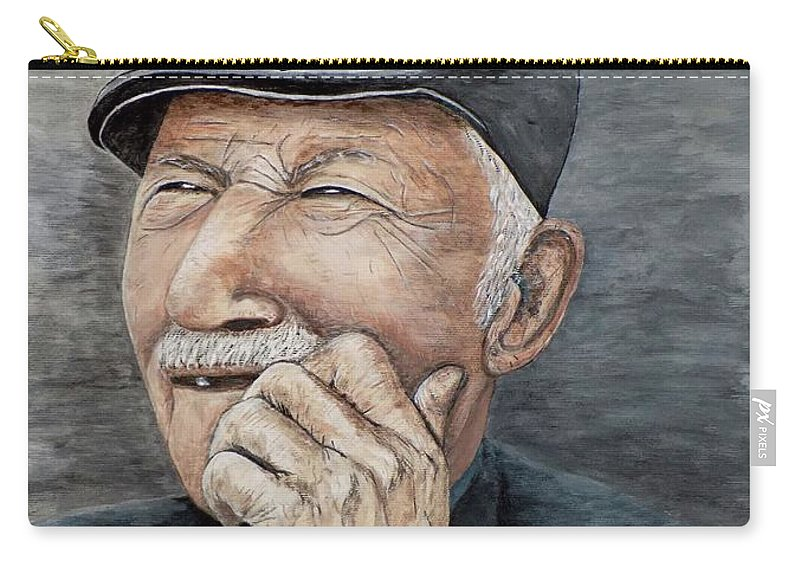 Old Man Carry-all Pouch featuring the painting Laughing Old Man by Judy Kirouac