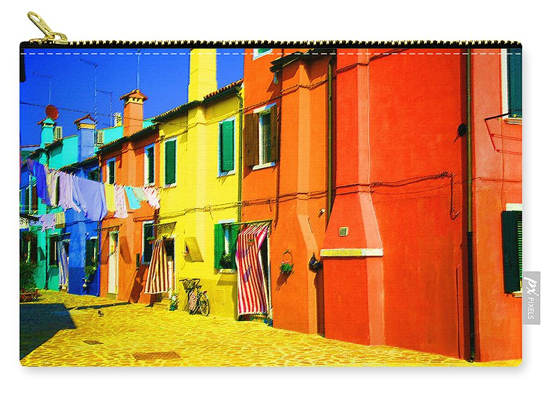 Burano Carry-all Pouch featuring the photograph Laundry Between Chimneys by Donna Corless