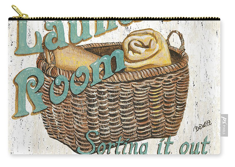 Laundry Carry-all Pouch featuring the painting Laundry Room Sorting It Out by Debbie DeWitt